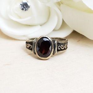 925 Sterling Silver Vintage Garnet Ring Size 6.5